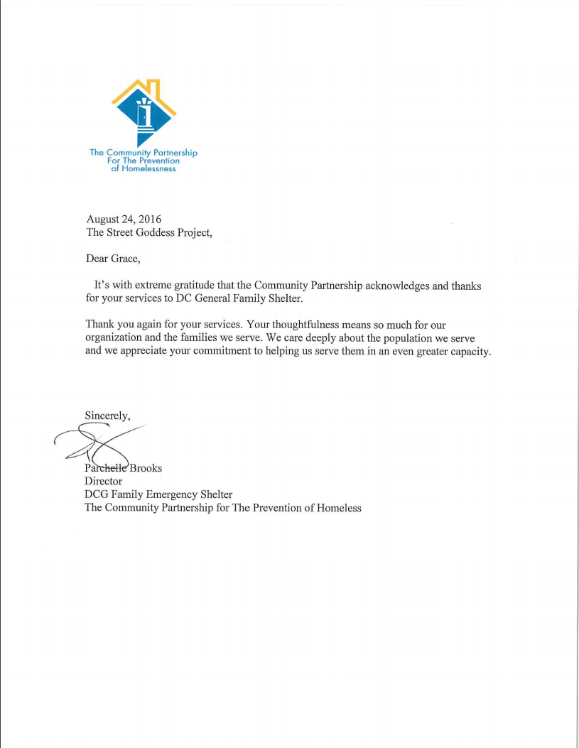 Community Partnership Letter of Appreciation